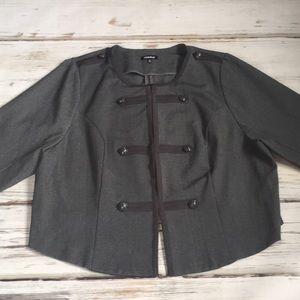 Torrid Military Blazer Jacket Coat Gray 4 XXXXL 4X